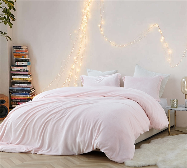 Pink Oversized King Duvet Cover Frosted Rose Quartz Coma