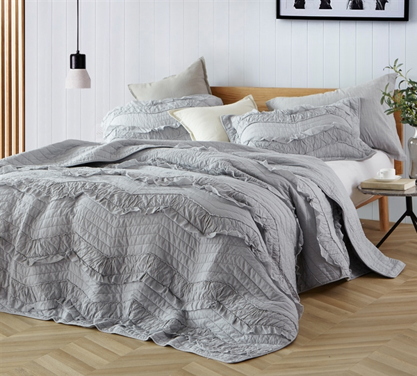 Essential Oversized King Quilt Set With Matching Glacier