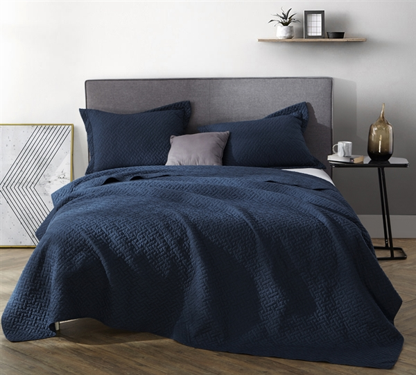 Navy Blue Stylish Supersoft Pre Washed King Xl Quilt Comfy