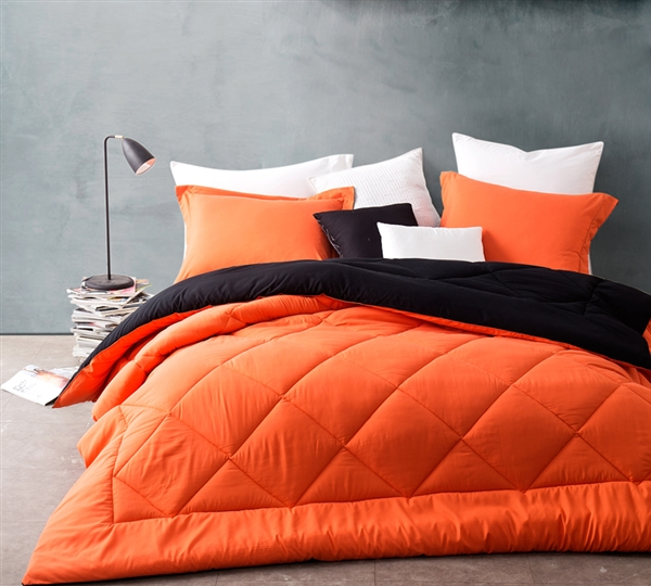 choose extra long full comforters orange black. Black Bedroom Furniture Sets. Home Design Ideas